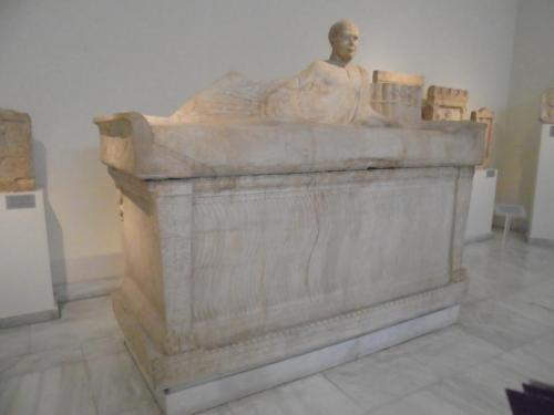 Attic Sarcophagos used twice with replacement male head. Last used AD230-240 Athens A Museum